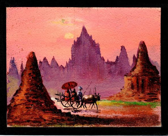 Handpainted postcards from Burma